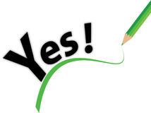 Yes. A yes sign with green line and pencil royalty free illustration