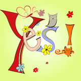 Yes. Cartoon illustration with inscription Yes Stock Photo