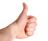 Yes. Male hand shows agree gesture with clipping path over white background Royalty Free Stock Photography