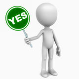 Yes. Word in green over a banner held up by a little 3d man against white background, concept of positive response vector illustration