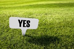 Yes. Sign on a golf field Royalty Free Stock Photo