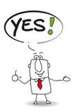 Yes. Joe the businessman says yes royalty free illustration