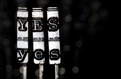 Yes. Word YES composed from keys of vintage typewriter Royalty Free Stock Photos