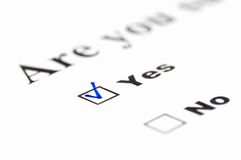 Yes. /no form illustrating the alternative choice ( checked stock images