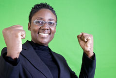 YES!!. A young African American woman with a gesture of enthusiastic approval Stock Image
