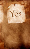 YES. Paper sheet with YES word royalty free stock photography