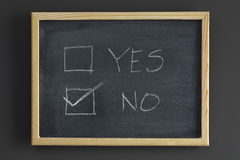 YES And NO Check Boxes On Blackboard Royalty Free Stock Photos