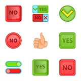 Yes And No Sign Icons Set, Cartoon Style Stock Image