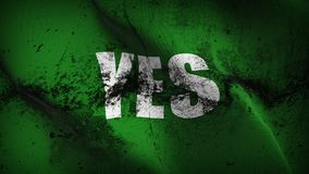 Yes grunge dirty flag waving on wind. royalty free stock photos