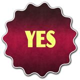 YES badge round Stock Images