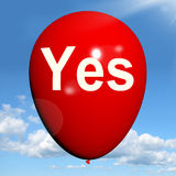 Yes Balloon Means Affirmative Approval and Certainty Royalty Free Stock Images