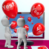Yes Balloons From Computer Showing Approval And Support Message Stock Images