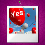 Yes Balloons Photo Means Certainty and Affirmative Approval Stock Images
