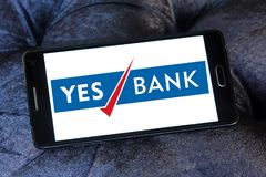 Yes Bank logo. Logo of Yes Bank on samsung mobile. Yes Bank is India`s fourth largest private sector bank Stock Photography