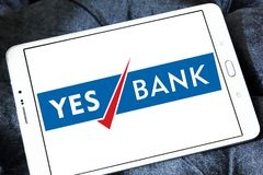 Yes Bank logo. Logo of Yes Bank on samsung tablet. Yes Bank is India`s fourth largest private sector bank Stock Photo