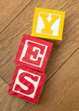 Yes Blocks Stock Photo