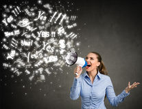 Yes - Businesswoman with megaphone Royalty Free Stock Photo