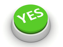 Yes button. Green Yes button on white background. 3D render Royalty Free Stock Image