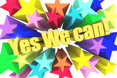 Yes We Can motto. Golden text with vivid stars Royalty Free Stock Images