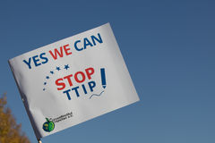Yes we can stop ttip slogan on flag. Berlin, Germany, October 10, 2015: Hundreds of thousands protest in Berlin against EU-U.S. trade deal TTIP Royalty Free Stock Photos