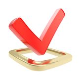 Yes check tick emblem over checkbox isolated Royalty Free Stock Image