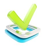 Yes check tick emblem over checkbox isolated Stock Photography