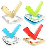 Yes check tick emblem over checkbox, set of four Stock Images