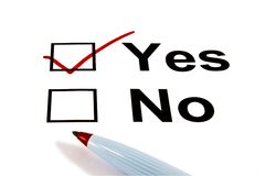 YES Checkbox Selected - Isolated on White stock images