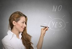 Yes choice. Yes no decision making concept. Woman circles with pen yes choice Stock Photography
