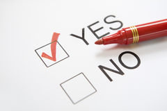 'Yes' chosen Royalty Free Stock Images