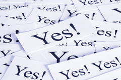 Yes Concept. A look at the concept of yes, agreement, harmony Royalty Free Stock Photo