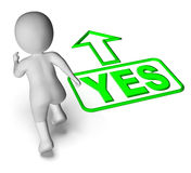 Yes And 3D Character Shows Affirm Agree Ok Stock Photos