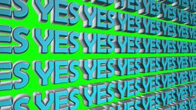 Yes 3d text floating on screen stock video footage