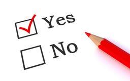 YES do voto Fotografia de Stock Royalty Free