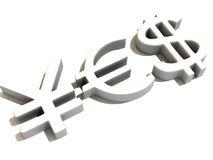 YES dos sinais ienes, dólar e euro Foto de Stock