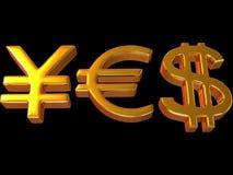 YES dos sinais ienes, dólar e euro. Foto de Stock