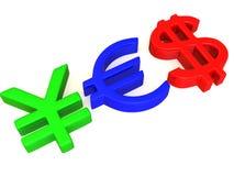 YES dos sinais ienes, dólar e euro Imagens de Stock