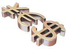 YES dos sinais ienes, dólar e euro Imagem de Stock Royalty Free