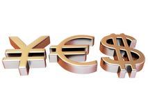 YES dos sinais ienes, dólar e euro Fotos de Stock Royalty Free