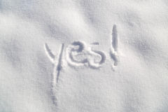 Yes with exclamation mark on snow background Royalty Free Stock Photography