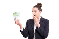 Yes! Extra cash!. Successful business woman showing some banknotes Stock Photos