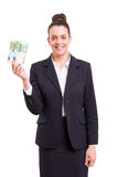 Yes! Extra cash!. Successful business woman showing some banknotes Royalty Free Stock Photo