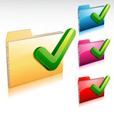 Yes Folder Icon. Illustration of a glossy folder icon with check mark Stock Photos