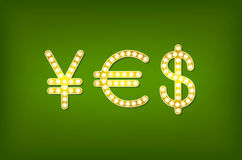 Yes in form money symbol, 3d vector vintage Royalty Free Stock Photos