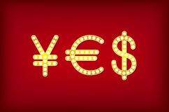 Yes in form money symbol, 3d vector vintage Stock Image