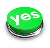 Yes - Green Button Stock Photography