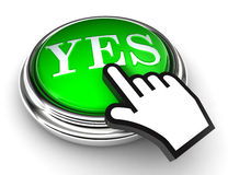 Yes green button and pointer hand Stock Photos