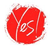 Yes handwritten word sign, banner, motivational print, vector illustration. Design vector illustration