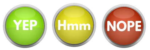 Free YES Hmm NOPE Buttons Royalty Free Stock Images - 55045439