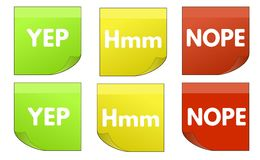 Yes, Hmm, Nope colored stickers Royalty Free Stock Photos